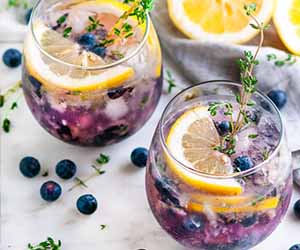 Blueberry Thyme Gin Fizz cocktail